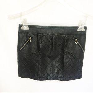 BCBG Black Leather Skirt XS